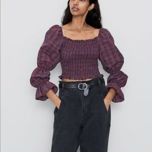 Zara Plaid Crop Top - New with tags